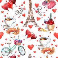 Patrón de papel de envoltura de recuerdo sin fisuras de París