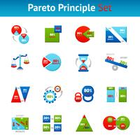 Pareto principle flat icons set