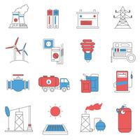 Energieleitung Icons Set