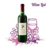 Concepto de boceto del vino