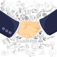 Cartel de la composición de los iconos del concepto de la asociación del negocio