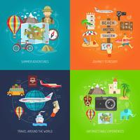 Reisen Sie flach dekorative Icon Set