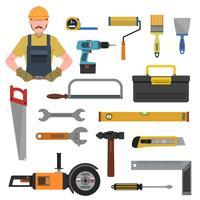 Flache Ikonen der Werkzeuge eingestellt