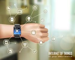 Smart Watch On Hand Concept vector
