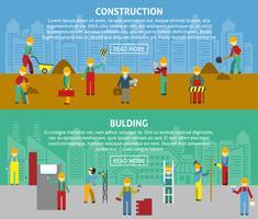 Set di banner orizzontale piatto di costruzione