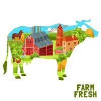 Farm Cow Concept vector