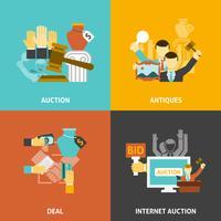 Auction Deal Icons Set
