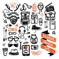 conjunto de hipster de dibujo