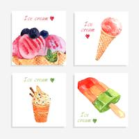 Ice cream watercolor icons composition banner