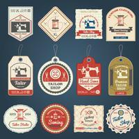 Conjunto de ícones de etiquetas de emblemas de loja de alfaiate vetor