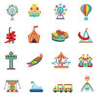 Nöjespark ikoner uppsättning