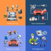 Conjunto de iconos de dibujos animados de mantenimiento de coche