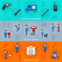 Conjunto de bandeiras horizontais de guarda de segurança