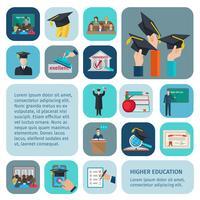 Ícones de educação superior plana