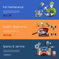 Car Repair Cartoon Banners Set