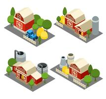 Farm Isometric Icons Set  vector