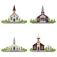 Conjunto de ícones plana de igreja decorativa