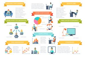 Set di infografica a colori freelance