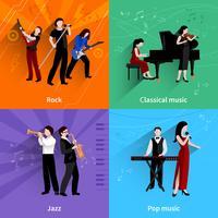 Conjunto plano de músicos