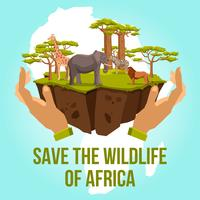 Speichern Sie die Tierwelt von Afrika