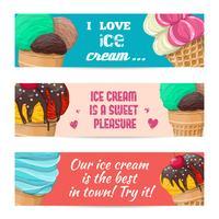 Conjunto de banners com sorvete