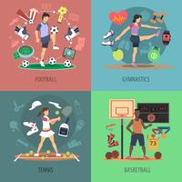 Insieme di concetto di progetto di persone di sport