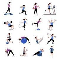 Fitness men women flat icons set