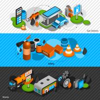 Gas station isometric banners set