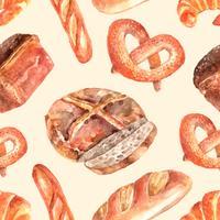 Pão fresco sem costura padrão decorativo