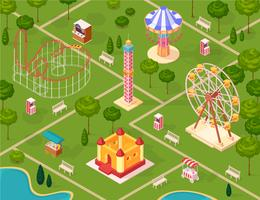 Amusement Park Isometric Seamless Pattern
