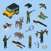 Hunting Isometric Icon Set