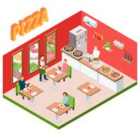 Isometric Pizzeria Background vector