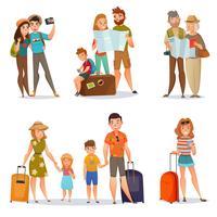 Conjunto de pessoas viajando