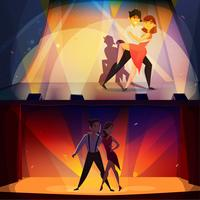 Dance Banners Set Retro Cartoon
