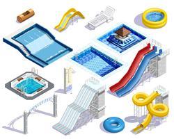 Conjunto de elementos de parque acuático