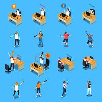 People In Cyber Sport Isometric Set