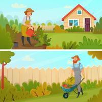 Jeu de bannière de jardinage