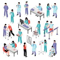 Arzt Krankenschwester Krankenhaus isometrische Set