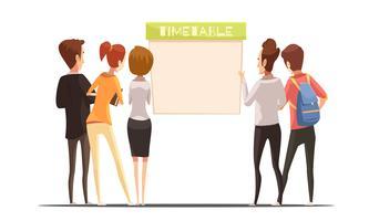 Students Near Timetable Retro Cartoon Illustration