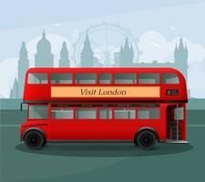 Ilustração realista de ônibus de dois andares de Londres