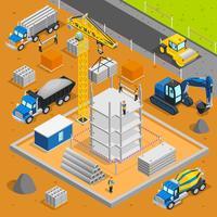Composição isométrica da área de construção