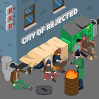 Lifestyle Of Homeless People Isometric Composition