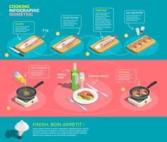 Preparación de filetes de salmón Infografía vector