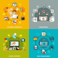 Conjunto de conceptos de herramientas de diseñador