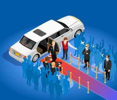 Premio de música Celebrity Limousin Isometric Illustration