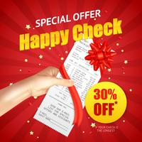 Shopping Sale Discount  Receipt Realistic Banner
