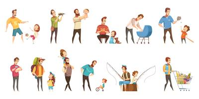 Fatherhood Retro Cartoon Icons Set