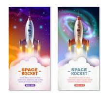 Bannières verticales de fusée spatiale
