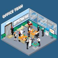 Arab Persons In Office Isometric Illustration