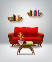Ilustración interior de sala de estar